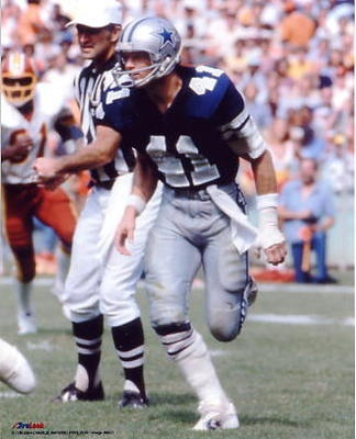 Charlie Waters, 1970 - 1981, played 160 games, position Defensive Sacondary. Waters was a versatile player who excelled at most positions in the secondary. He retired with a total of 41,( the same number as his playing number) interceptions for 584 yards and 2 touchdowns. He played in the Pro Bowl 3 times, 1976, 1977, and 1978.