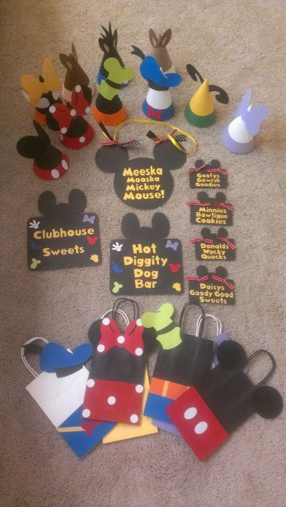 Mickey Mouse Birthday Party Package Party Hats by MagicalBoutique, $70.00 https://www.etsy.com/listing/155287593/mickey-mouse-birthday-party-package?ref=shop_home_active