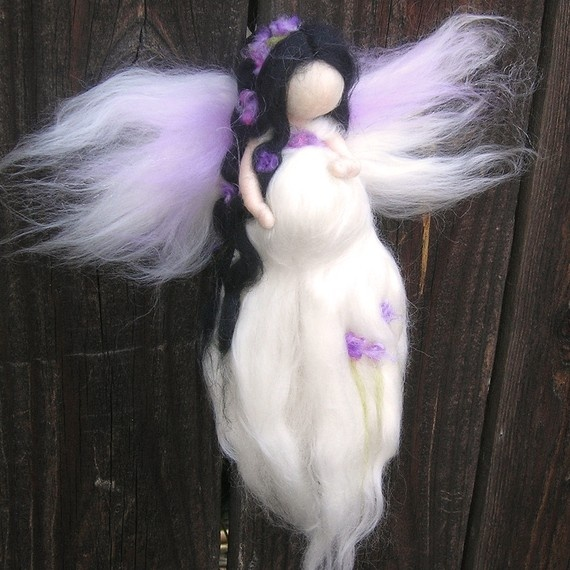 $30.00 Wool Angel - Needle felted Pregnant Mommy Fairy in White