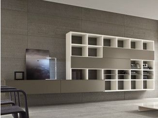 Wall-mounted lacquered storage wall SPEED C - Dall'Agnese