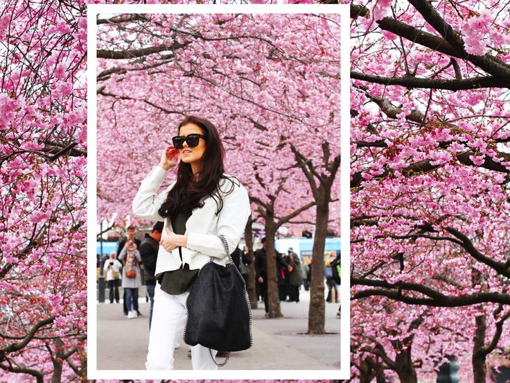 Cherry blossom in Stockholm. Delicate white on white outfit with an edgy twist. http://mariannelle.com