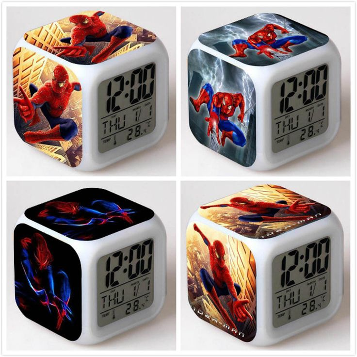 Super Hero Spiderman 7 Colors Led Night Light Alarm Clock Digital Glowing E1
