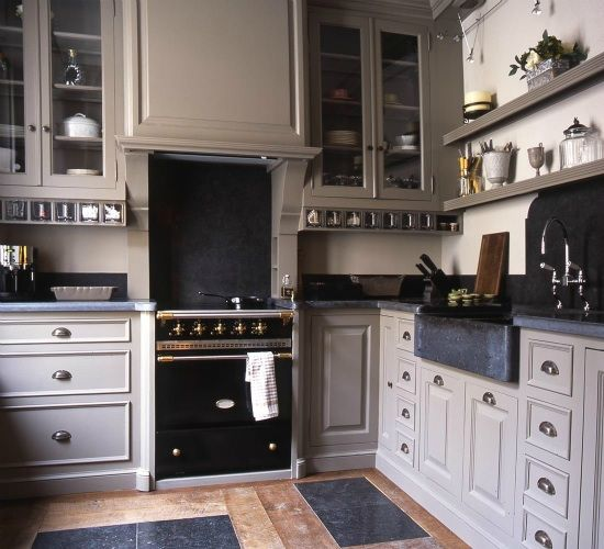 Gray Kitchen Cabinets With Black Appliances: Classic, Kitchen Ideas And Kitchen Stove