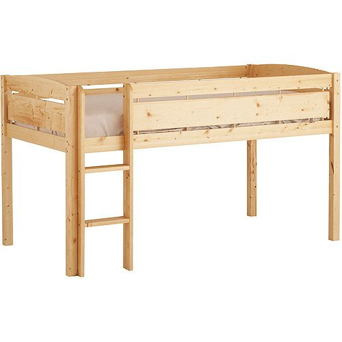 Canwood Whistler Junior Loft Bed, Natural $219 @ Walmart. Fits twin mattress.  Can buy 3 Ikea Rast 3-drawer chests for underneath for $35 each.  Would look girly with curtains around bottom.  Also available in white.
