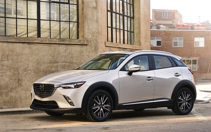 Download wallpapers Mazda CX-3, 2018 cars, crossovers, white CX-3, japanese cars, Mazda
