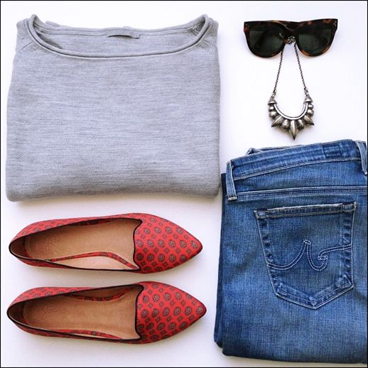 LE FASHION BLOG INSTAGRAM OUTFIT GRAY COS SWEATER CELINE SUNGLASSES PLAEMA LOVE TRIBAL SPIKE NECKLACE JOIE PRINT DAY DREAMING FLATS AG JEANS...
