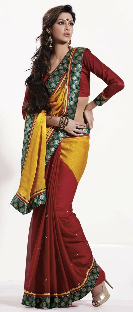 Dark #Yellow and Dark #Red Faux Georgette #Saree With Blouse @ $57.20