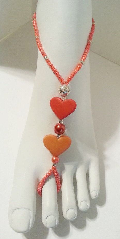 Coral Hearts Barefoot Sandals via Etsy
