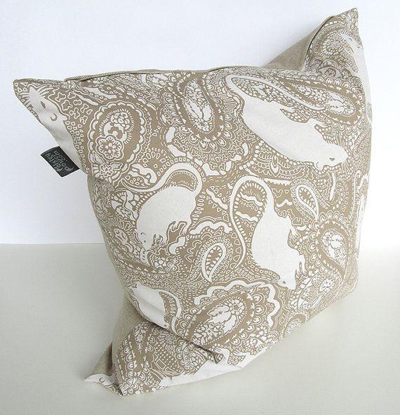 Cushion pillow LARGE  parchment colour paisley by PaisleyPowerShop