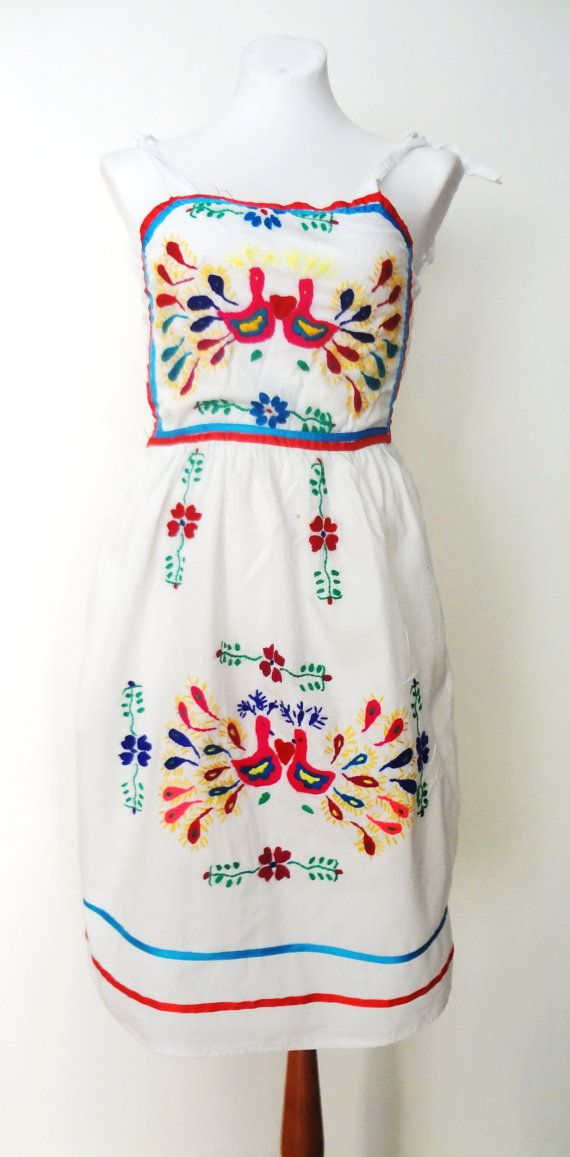 Vintage White Mexican Embroidery  Dress on Etsy, $30.00