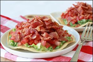 BLT Tostada and more recipes from Hungry Girl!  Pin away, PEOPLE!
