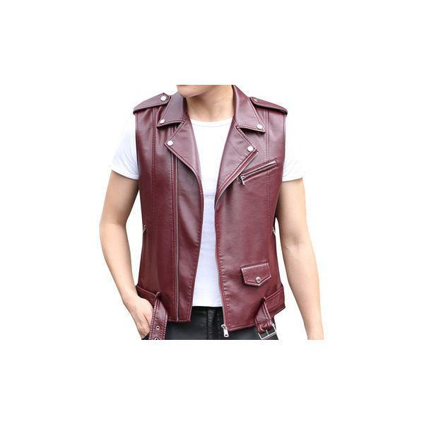 PU Leather Rivet Rock Vest (65 AUD) ❤ liked on Polyvore featuring men's fashion, men's clothing, men's outerwear, men's vests, men coats & jackets vests, purplish red, mens zip vest, mens sport vest, mens vest outerwear and mens sports vest