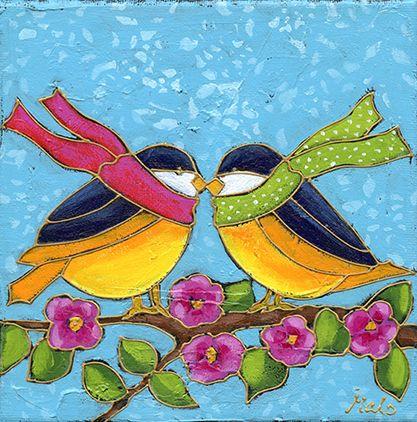 Les mésanges par Isabelle Malo • Acrylique sur toile et collage • Mixed media • Folk art • www.isamalo.com • Artiste peintre du Québec • Art naïf