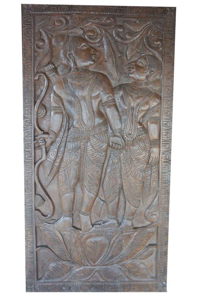 Vintage Hand Carved Wall Panel Ram Sita Wall Decor India Wall