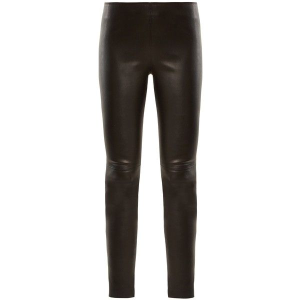Givenchy High-rise zip-cuff leather leggings ($2,195) ❤ liked on Polyvore featuring pants, leggings, black, high waisted leggings, genuine leather leggings, high-waisted leather pants, high-waisted leggings and legging pants