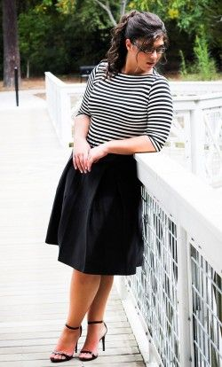 Lara striped boatneck pullover top with button detail in Black/White.
