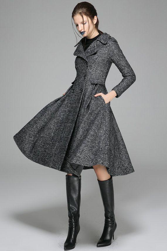 Black wool coat, black coat, fit and flare coat, Swing Coat, double breasted coat, dress coat, wool coat, winter coat, womens coat 1373