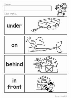 Autumn / Fall Math No Prep Worksheets & Activities. Prepositions (positional words).