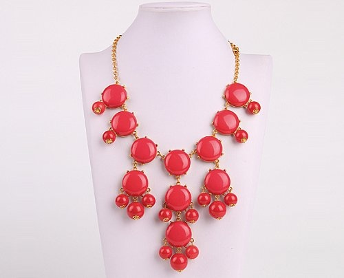 Bubble Bib Necklace, Coral Red Bubble Necklace, Bubble Jewelry, Gold Tone,Coral Red Necklace (Fn0508-Coral Red)