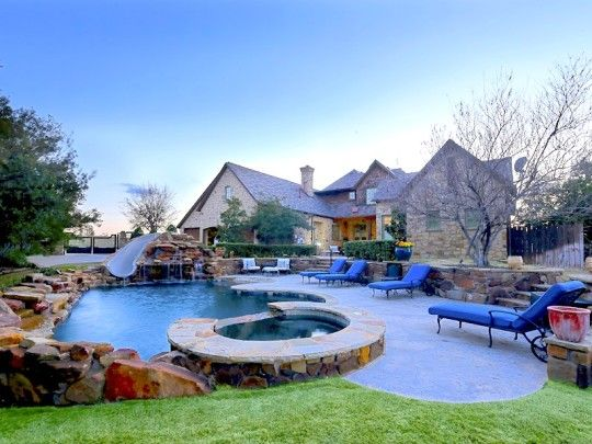 Luxury Homes With Phenomenal Swimming Pools A Pool Slide And Rock Waterfall Feature Complete