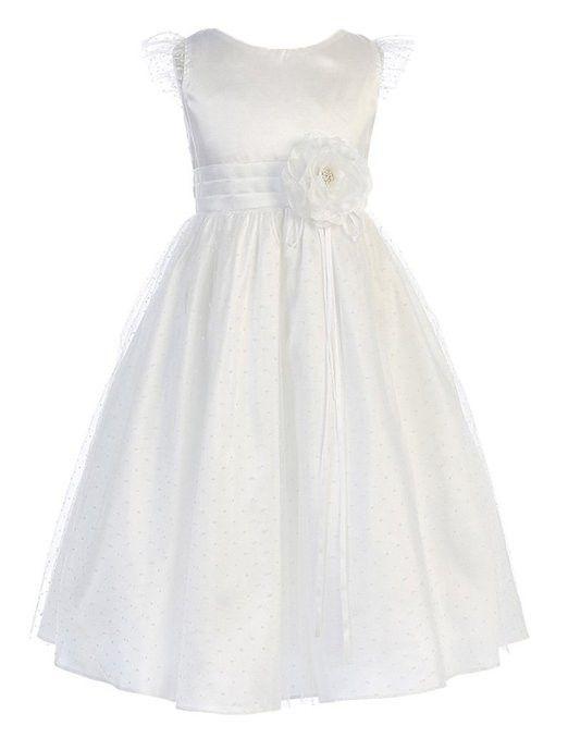 Sweet Kids Girls New Whimsical Petite Polka Dotted Mesh Flower Girl Dress