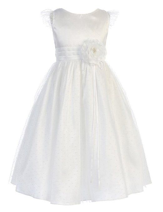Sweet Kids Girls New Whimsical Petite Polka Dotted Mesh Flower Girl Dress