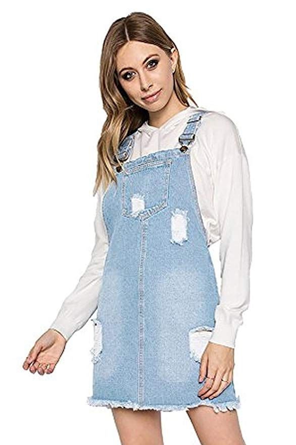 f121159cecb TwiinSisters Women s Casual Denim Destroyed Overall Dresses for Women Plus  (Medium