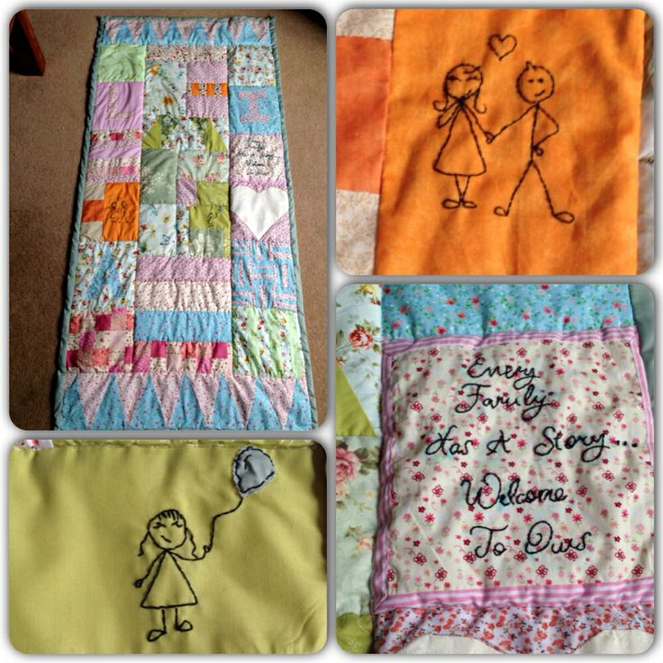 Patchwork/embroidered memory blanket