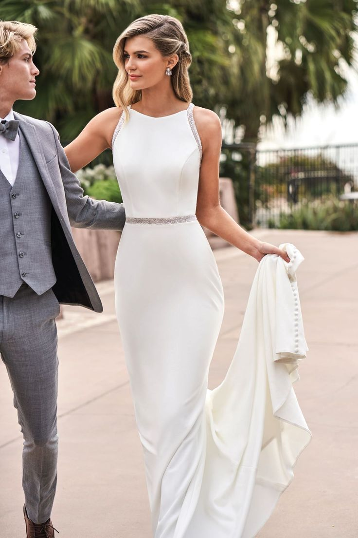 F211051 Simple Stretch Crepe Silky Jersey Wedding Dress With Halter Neckline In 2020 Simple Elegant Wedding Dress Casual Wedding Dress Top Wedding Dresses