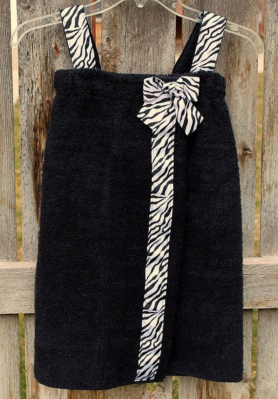 Child's Towel Wrap Spa Wrap--Black with Zebra Print Ribbon--Great for Pool, Beach, and Bath--Wonderful Gift. $28.00, via Etsy.