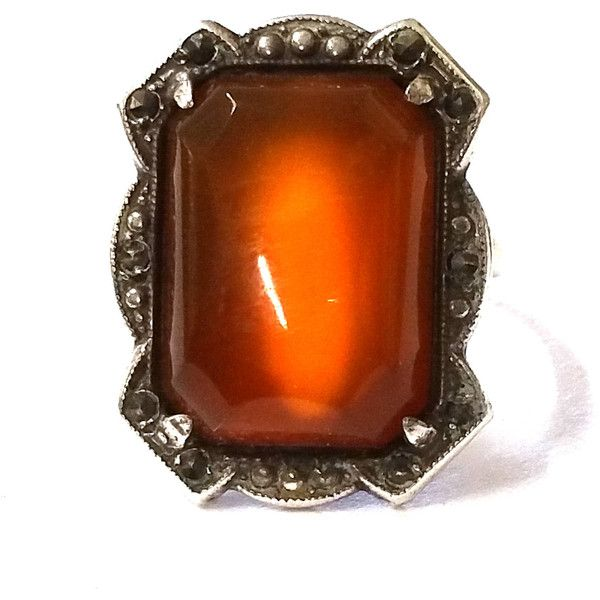 Art Deco Carnelian Marcasite Ring ($95) ❤ liked on Polyvore featuring jewelry, rings, vintage marcasite ring, vintage art deco jewelry, carnelian ring, vintage jewelry and art deco rings