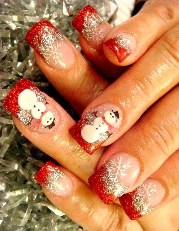 Christmas nail art design ideas snowman 28 Creative Christmas Nail Designs