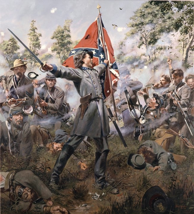 """The Boy Colonel"" Twenty-one year old Colonel Henry King Burgwyn,Jr., leads the 26th North Carolina across Willoughby , July 1, 1863 at the battle of Gettysburg. He was killed moments after picking up the regiment's bloodstained banner."