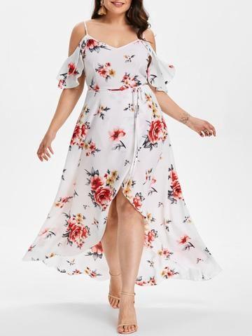 989f1d959e1 Women Summer Plus Size 5XL Cold Shoulder Floral Overlap Dress Spaghetti  Strap Half Sleeves Floral Print