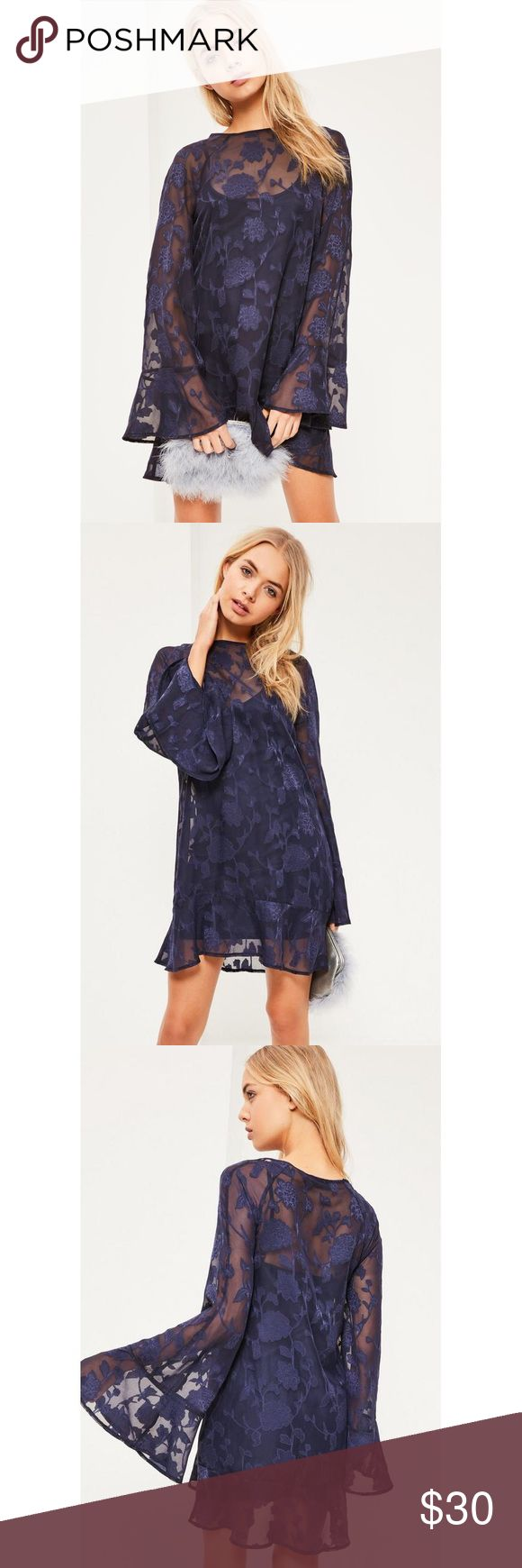 """Missguided Blue Jacquard Flute Sleeve Swing Dress be a new season bohemian dream in this swing dress - featuring a blue floral jacquard print, flute sleeves and a subtle frill hem.   regular fit - black cami dress underlay   100% polyester   approx length: 82cm/32"""" (based on a uk size 8 sample)   BRAND NEW WITH TAGS, SOLD OUT ONLINE Missguided Dresses Long Sleeve"""