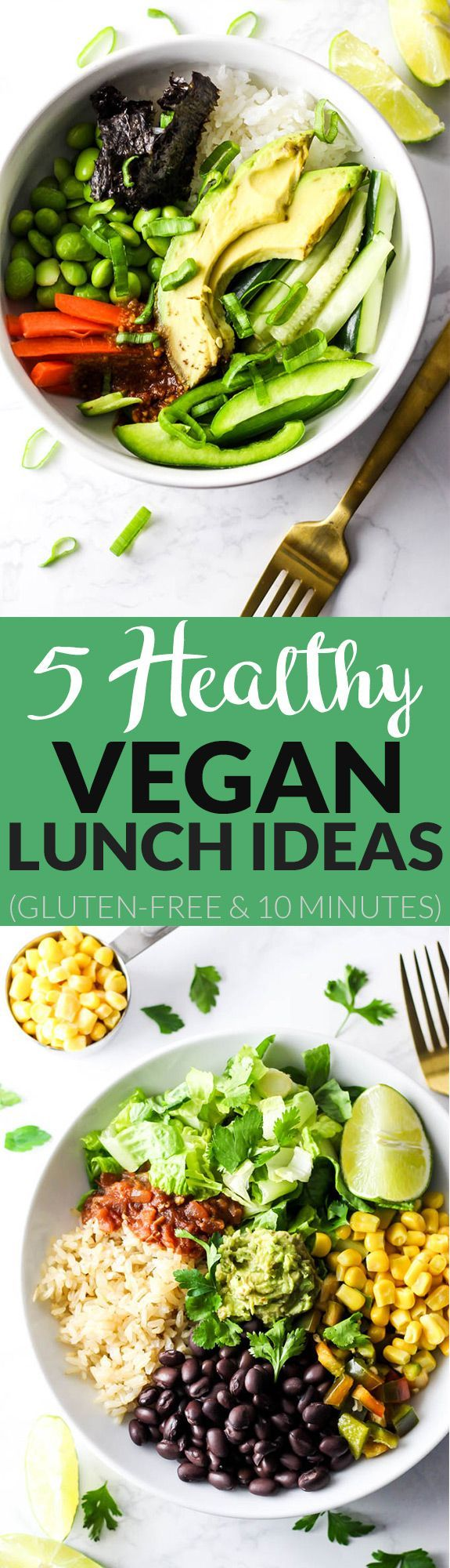 Use these 5 Healthy Vegan Lunch Ideas to pack wholesome lunches for work or school! These recipes are packed with vegetables & flavor to keep you satisfied. @VeeteeUSA #ad