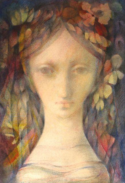 Czech artist Ludmila Jirincová (1907-1985) - Girl with a Veil