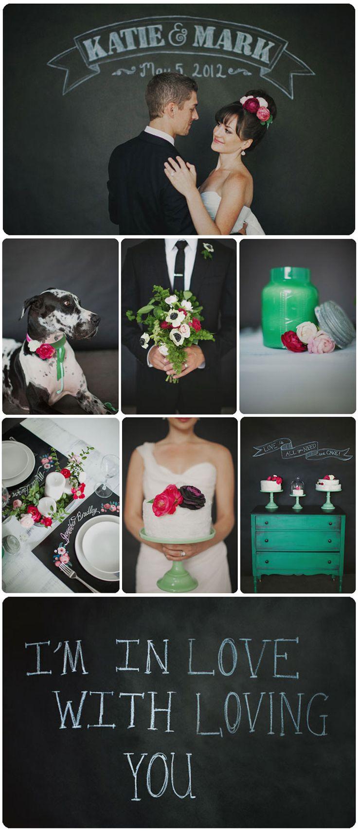 Chalkboard Wedding  placemats?  photos- groom w/ bouquet, bride w/ cake?