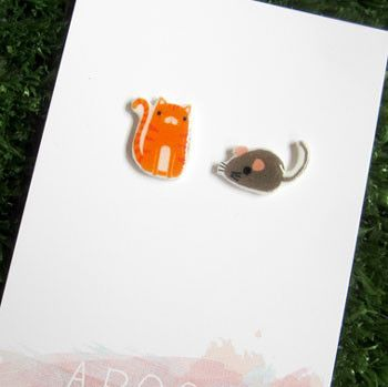 Cat & Mouse Earrings Unique Gifts Made in Australia – Bits of Australia