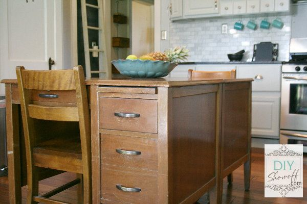 2 old teacher's desks turned kitchen island - so one of a kind!