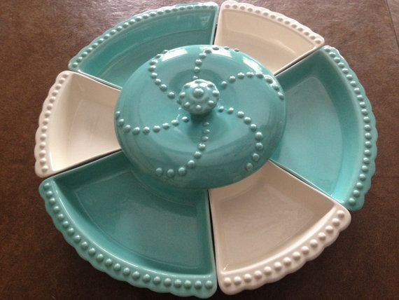 Vintage California Pottery Lazy Susan / Turquoise and White /                                                Retro Mid Century