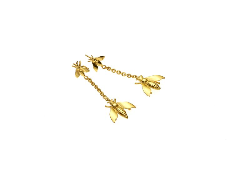 PUSHMATAaHA/ Twin Fly Earrings // Gold