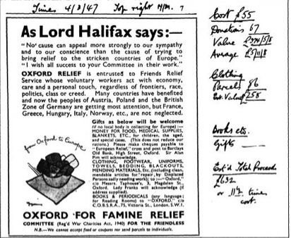 An Oxfam ad from 1947 - along with the results. 4 March, 1947