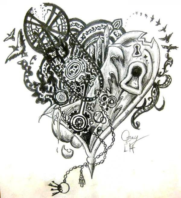 Mechanical Heart Tattoo Designs