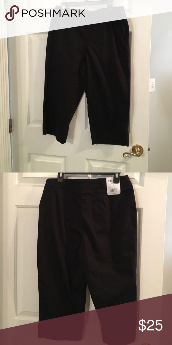 NWT Chaus Jet Black Capris Pants Size 12 NWT Chaus side zippered Capris. Flat front. Size 12. Color is Jet Black. Material is 97% Cotton, 3% Spandex. Chaus Pants Capris
