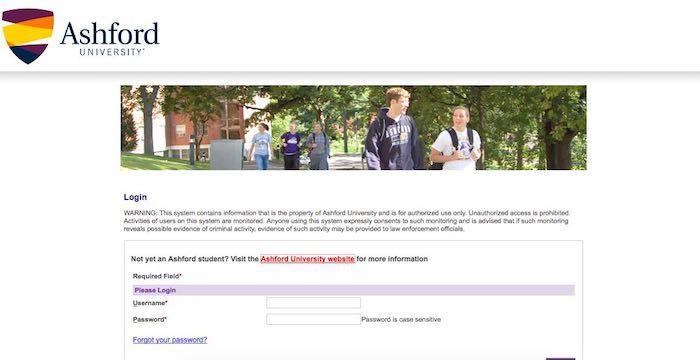 ashford edu student portal login