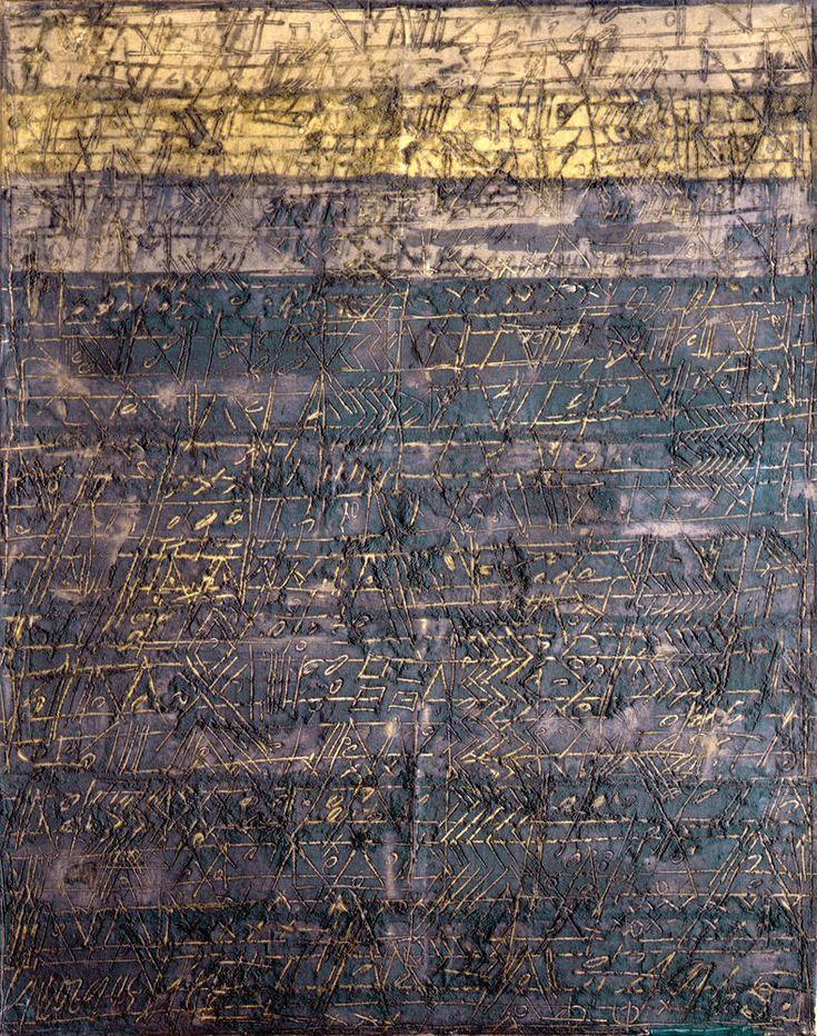 """Georges Noël(French, 1924-2010) Palimpseste """"Le Soir"""" 1965 Technique mixte (acétate de polyvinyle, silice, pigments) sur toile"""