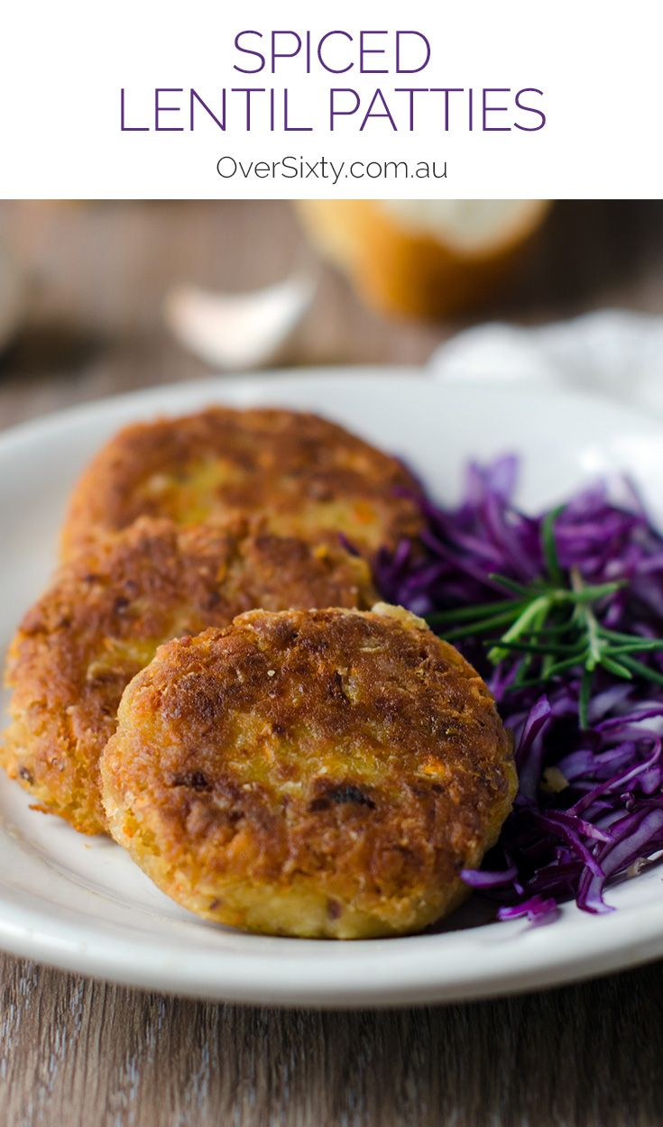 Spiced Lentil Patties - this recipe will give you crunch on the outside, soft on the inside lentil patties. Perfect for a vegetarian burger. They're easy to freeze as well!