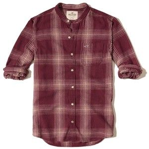 Hollister Banded Collar Flannel Shirt