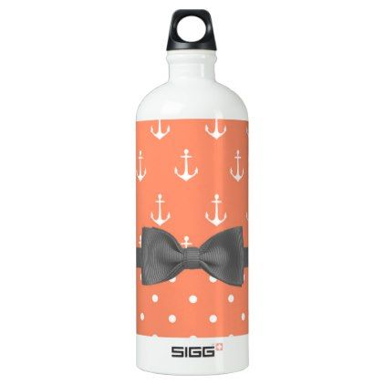 Cute Orange and White Nautical Aluminum Water Bottle - home gifts ideas decor special unique custom individual customized individualized